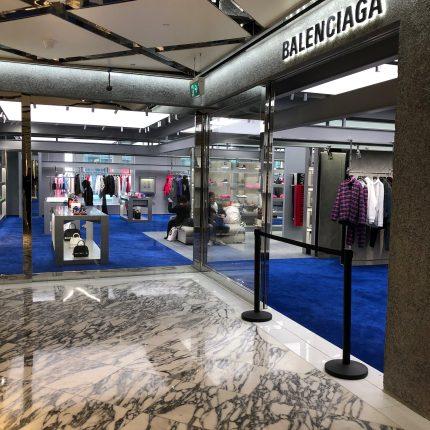 Balenciaga Shop Fitout Royal Blue Custom Carpet